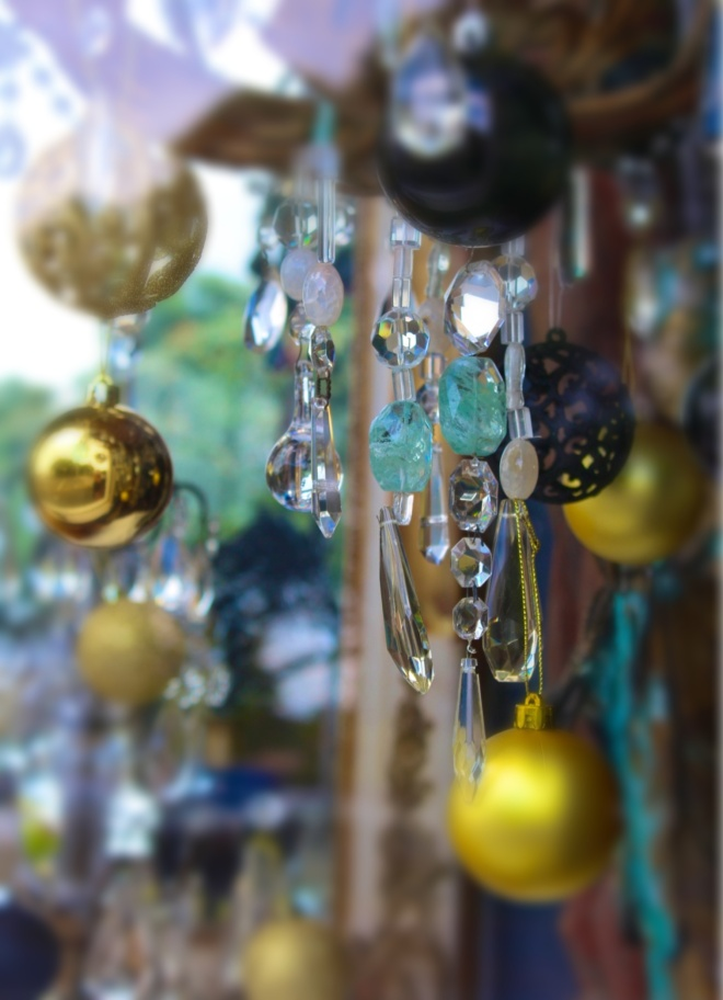 christmas decorations in a shop window. Photo: Su Leslie, 2013