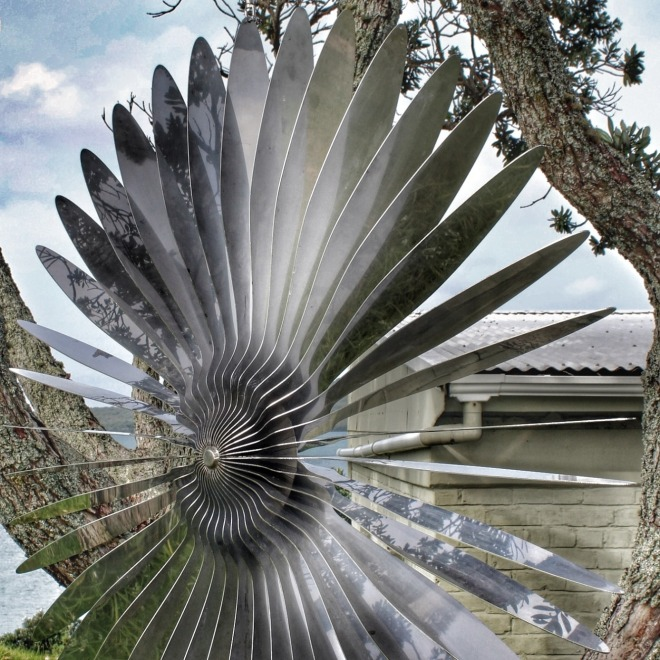 "Rebecca Rose, ""Inflight Entertainment"", 2014. Exhibited at NZ Sculpture OnShore, 2014. Photo: Su Leslie, 2014"