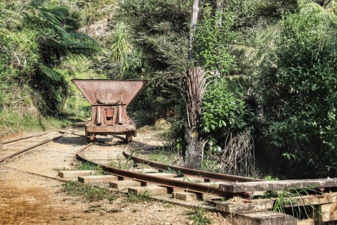 Disused cart for moving gold-containing quartz from mine to battery for extraction. Karangahake Gorge, Coromandel, NZ. Image: Su Leslie, 2016