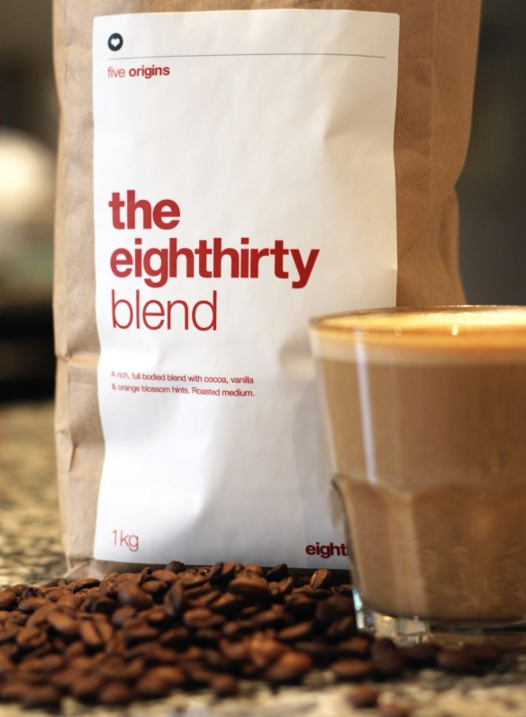 Eighthirty coffee roasters, 1kg bag. Close-up shot of bag of coffee beans and latte in a glass. Image: Su Leslie, 2016