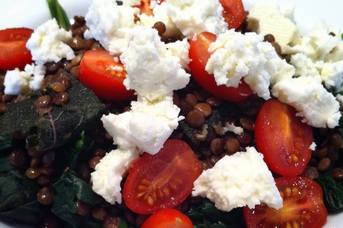 Warm salad of lentils, crisp sage leaves, feta and baby tomatoes. Image: Su Leslie, 2015