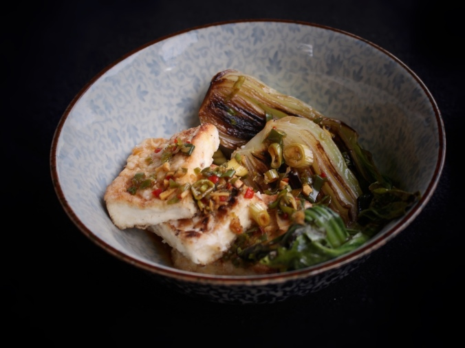 Pan-fried tofu with braised bok-choy and Asian Vinaigrette. Image: Su Leslie, 2017