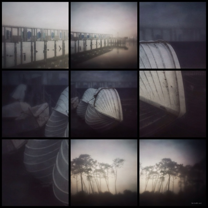 Collage of early morning fog shots. Wharf, boats and silhouetted trees. Su Leslie, 2017