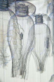 Detail, Bottled River. Installation by George Nuku and students of Hawke's Bay schools. Hastings City Art Gallery, NZ. Image: Su Leslie