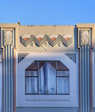 Detail, Art Deco facade, commercial building, Napier, NZ. Image: Su Leslie 2018