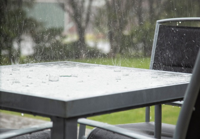 rain splash on table