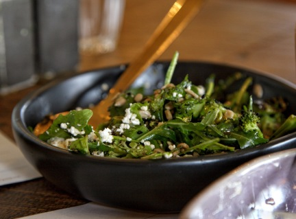 Lunch at the Smoko Room, Sawmill Brewery, Matakana. Char-grilled broccolini salad. Image: Su Leslie, 2019