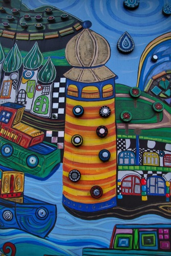 Detail; street art project referencing the influence of Friedensreich Hundertwasser's art in Northland, NZ. Image: Su Leslie 2019