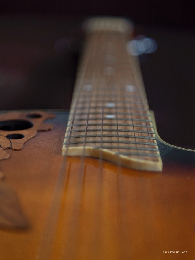 Close-up shot of Ovation guitar neck and strings, with bokeh. Image by Su Leslie 2019
