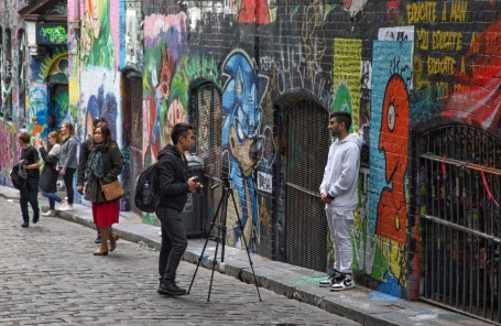 Hosier Lane street art. These days it's easier to photograph visitors photographing each other than to shoot the actual art. Image: Su Leslie 2019