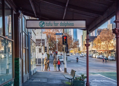 'Tofu for Dolphins' -- naturally. Sign that never fails to amuse me, Victoria Street, North Melbourne. Image: Su Leslie 2019