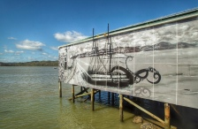 Mural at the wharf, Rawene, NZ. Image: Su Leslie 2019
