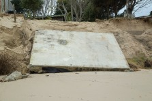 Once a house floor slab, beach Omapere, NZ. Image: Su Leslie 2019